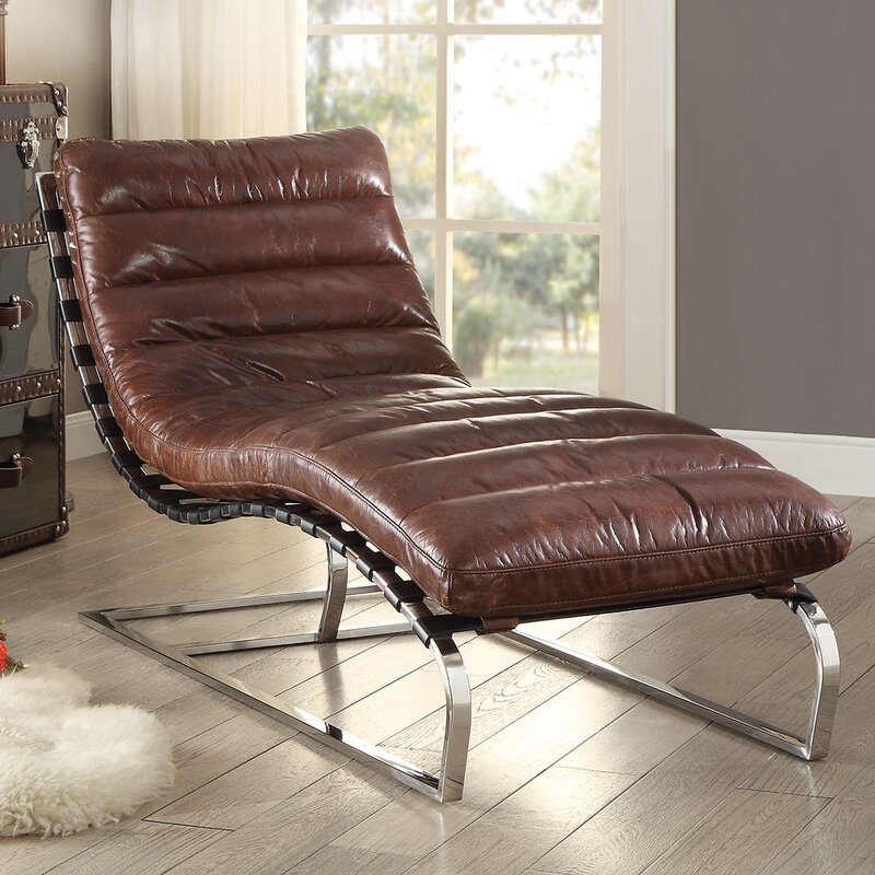 Qortini Leather Chaise Lounge Cognac #cognac #leather #modern #chaise