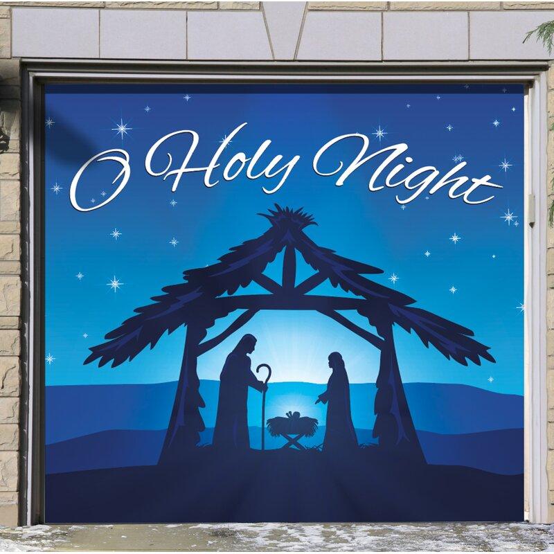 Nativity Scene O Holy Night Garage Door Mural