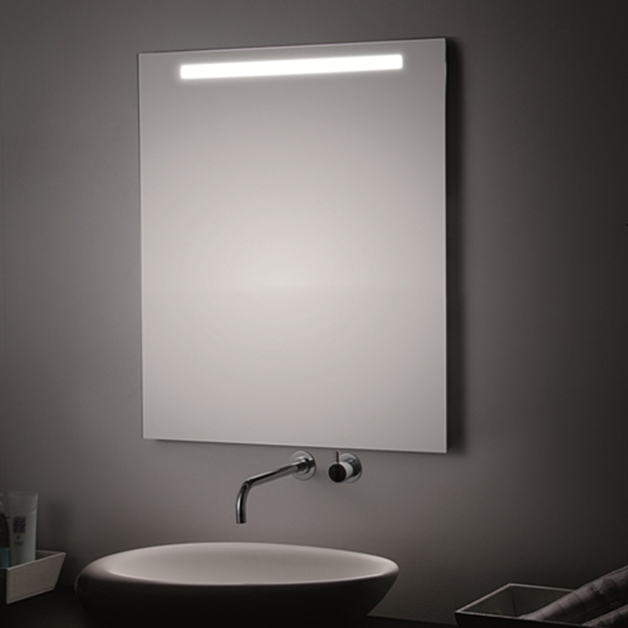 Image of: Ws Bath Collections T5 Led Modern Contemporary Frameless Lighted Wall Mirror Wayfair