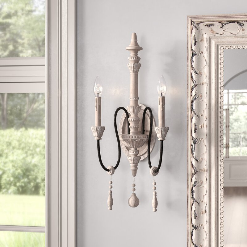 Bartles 2 - Light Dimmable White Washed Driftwood Candle Wall Light. See more lovely French inspired decor and furniture from Kelly Clarkson's collaboration with Wayfair in this story! #kellyclarksonhome #frenchcountry #lighting #wallsconce