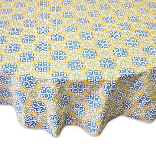 Bonnes Mosaic Print Heavyweight Vinyl Tablecloth With Soft Flannel Backing