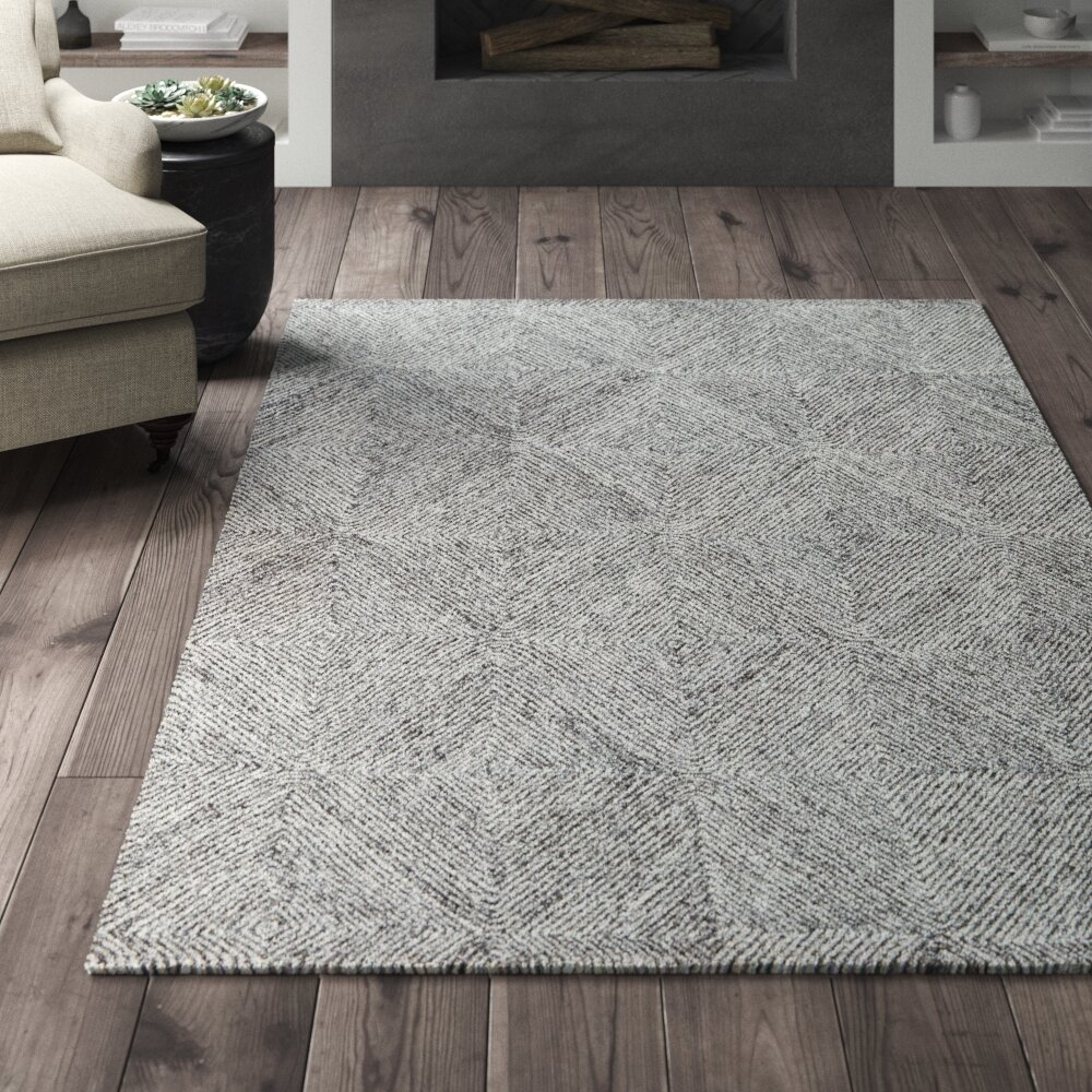 Greyleigh Gallatin Geometric Handmade Tufted Wool Cotton Gray Area Rug Reviews Wayfair