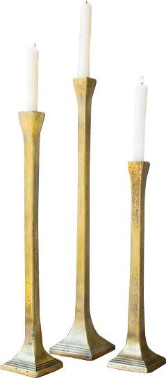 Taper 3 Piece Metal Candlestick Set