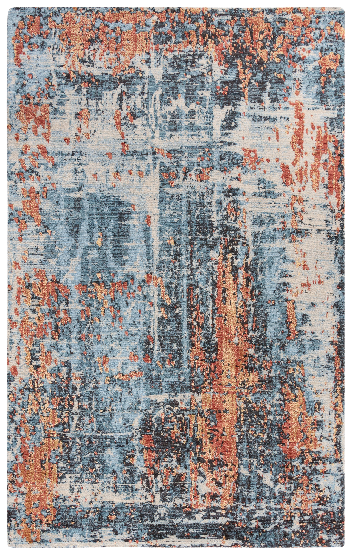 17 Stories Byerly Power Loom Wool Blue Rug Wayfair