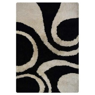 Inexpensive Papillion Shag Contemporary Hand-Tufted Black/White Area Rug By Orren Ellis