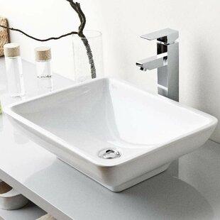 WS Bath Collections Top Ceramic Rectangular Vessel Bathroom Sink