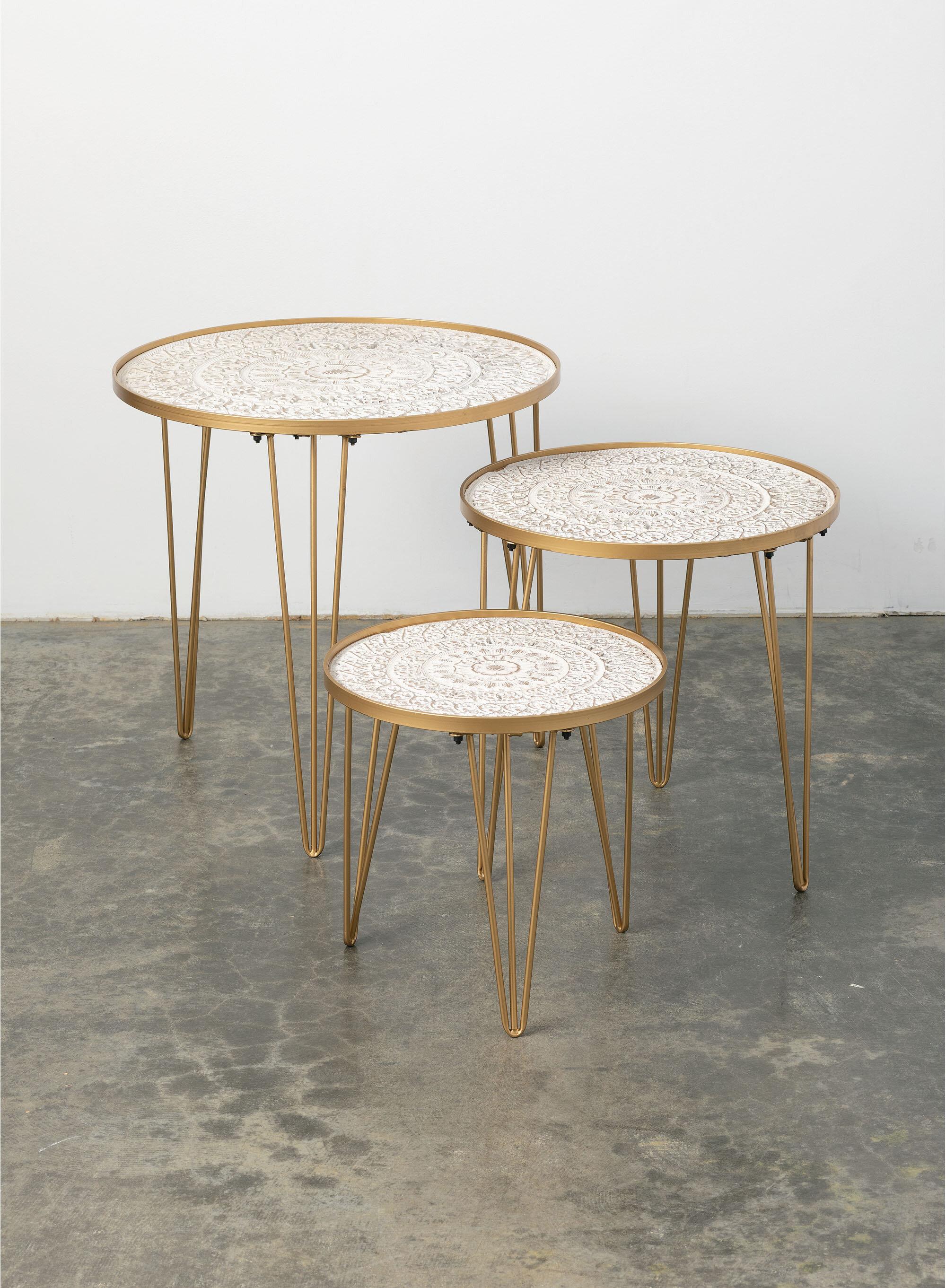 Corrigan Studio Hendrick 3 Piece Tray Top 3 Legs Nesting Tables Wayfair