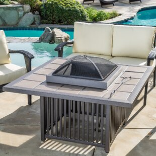 Home Loft Concepts Cicero Aluminum/Steel Wood Burning Fire Pit table