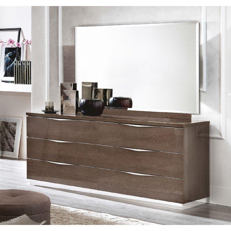 Brayden Studio Luther 6 Drawer Double Dresser With Mirror Wayfair