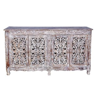 Aveliss Carved 4 Door Antique Whitewash Sideboard Bungalow Rose