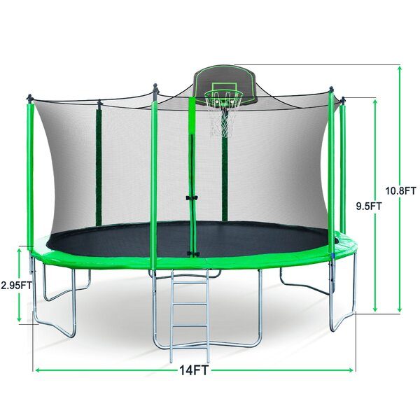 Huicheng 168 Quot Round Backyard Trampoline With Safety Enclosure Wayfair Ca