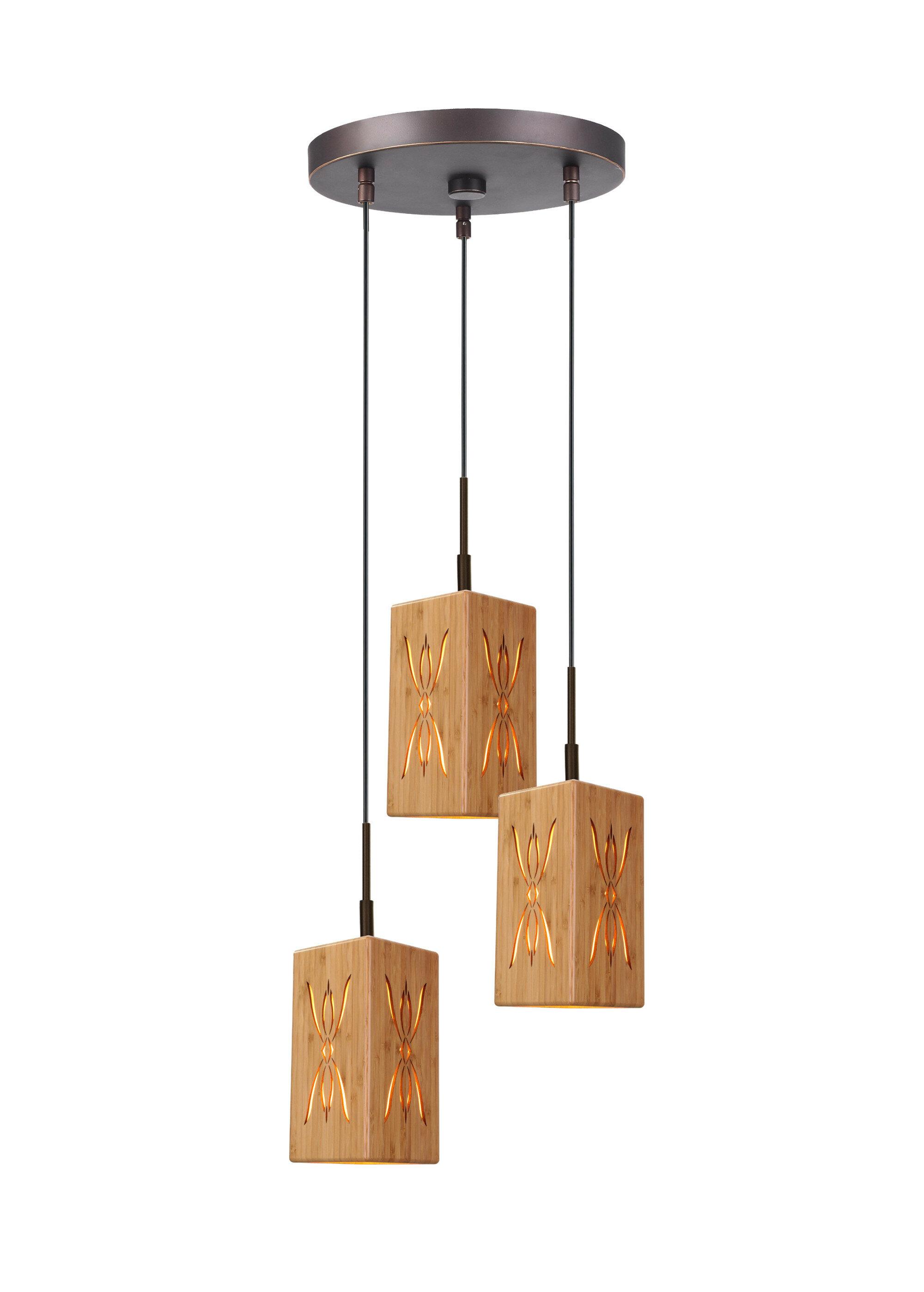 World Menagerie Newsom 3 Light Cluster Square Pendant Wayfair