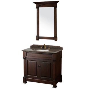 Reviews Andover 36 Single Dark Cherry Bathroom Vanity Set with Mirror ByWyndham Collection