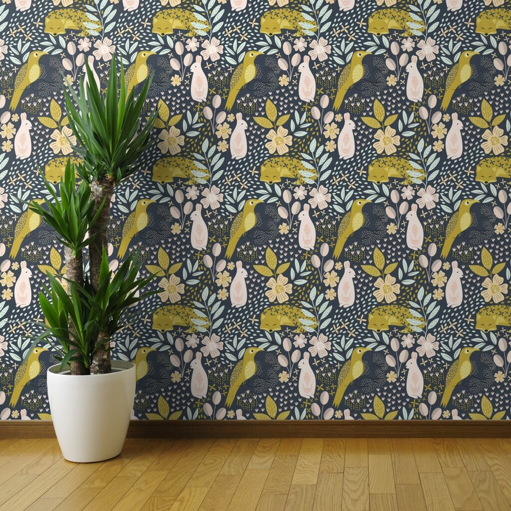 Ebern Designs Tallac Mustard Animals Removable Wallpaper Panel