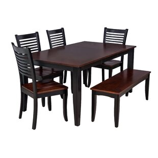 Aden 6 Piece Solid Wood Dining Set by TTP..