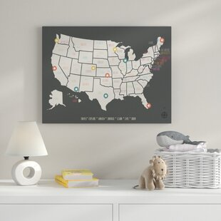 World map wall art personalized usa travel map graphic art on wrapped canvas gumiabroncs Gallery
