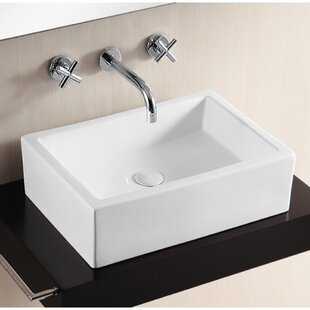 Bargain Ceramica Ceramic Rectangular Vessel Bathroom Sink with Overflow By Caracalla