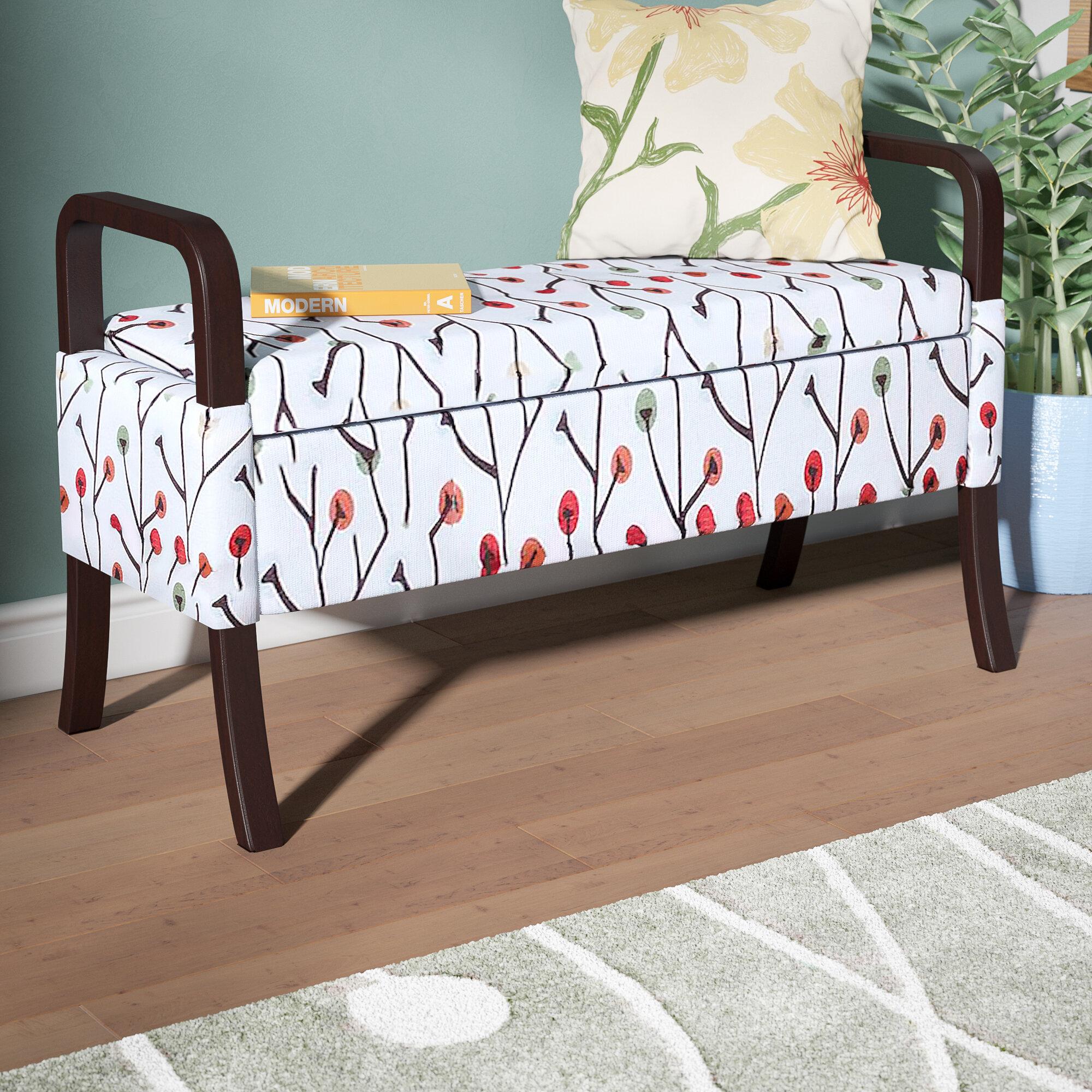 Latitude Run Blevins Upholstered Flip Top Storage Bench Reviews Wayfair