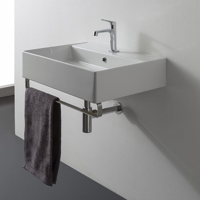Teorema Ceramic 19  Wall Mount Bathroom Sink with Overflow. Scarabeo by Nameeks Teorema Ceramic 19  Wall Mount Bathroom Sink