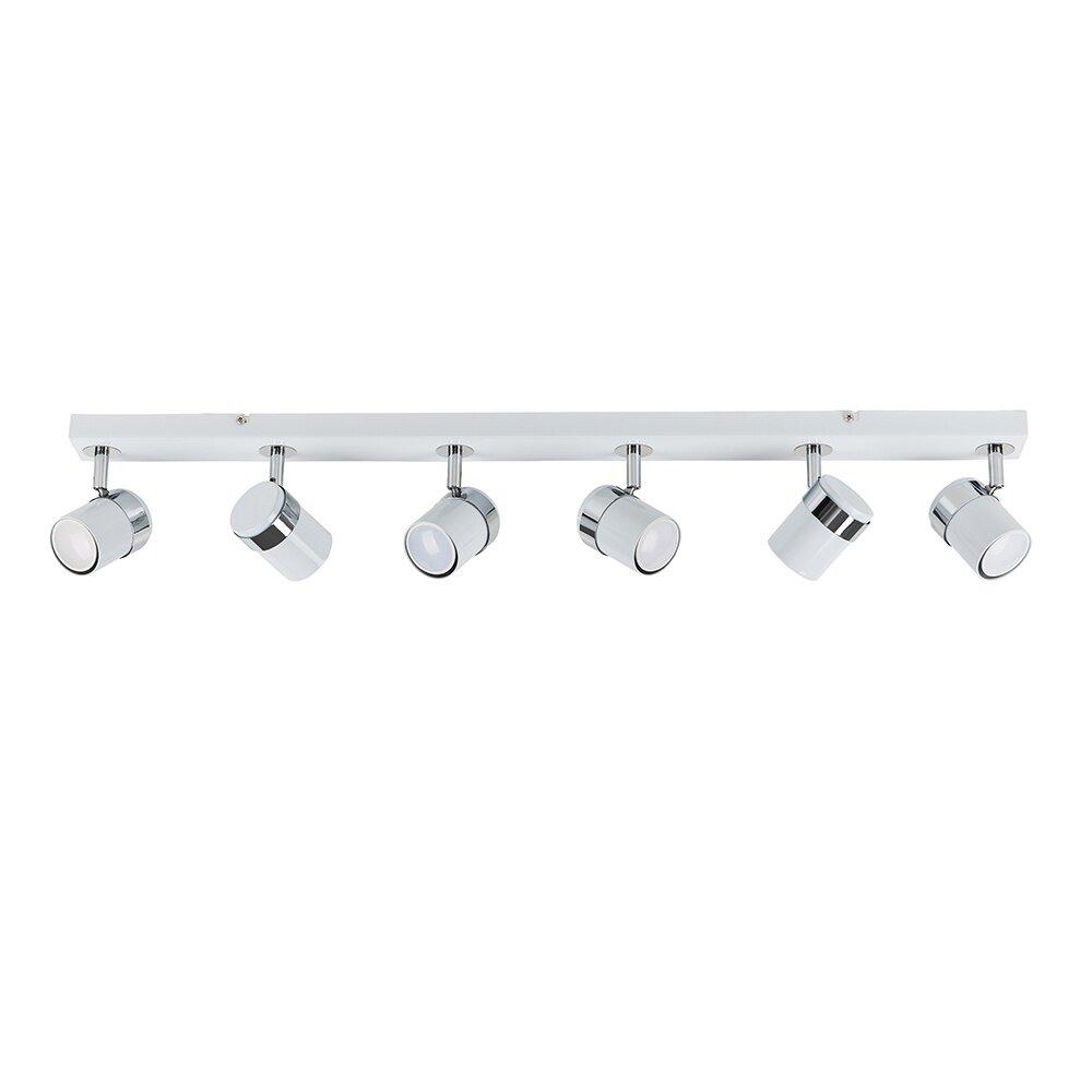 Lacey 9 Way Led Ceiling Spot Light Bar White & Chrome Finish Interior  Lighting