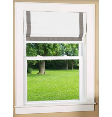Beachcrest Home Indoor Cordless Blackout Roman Shade Size: 38 W x 63 L, Color: Gray/White