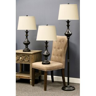 Astoria Grand Southgate 3 Piece Table and Floor Lamp Set