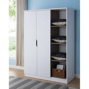 Dewitt Wardrobe with Open Side Shelves Armoire by Rebrilliant