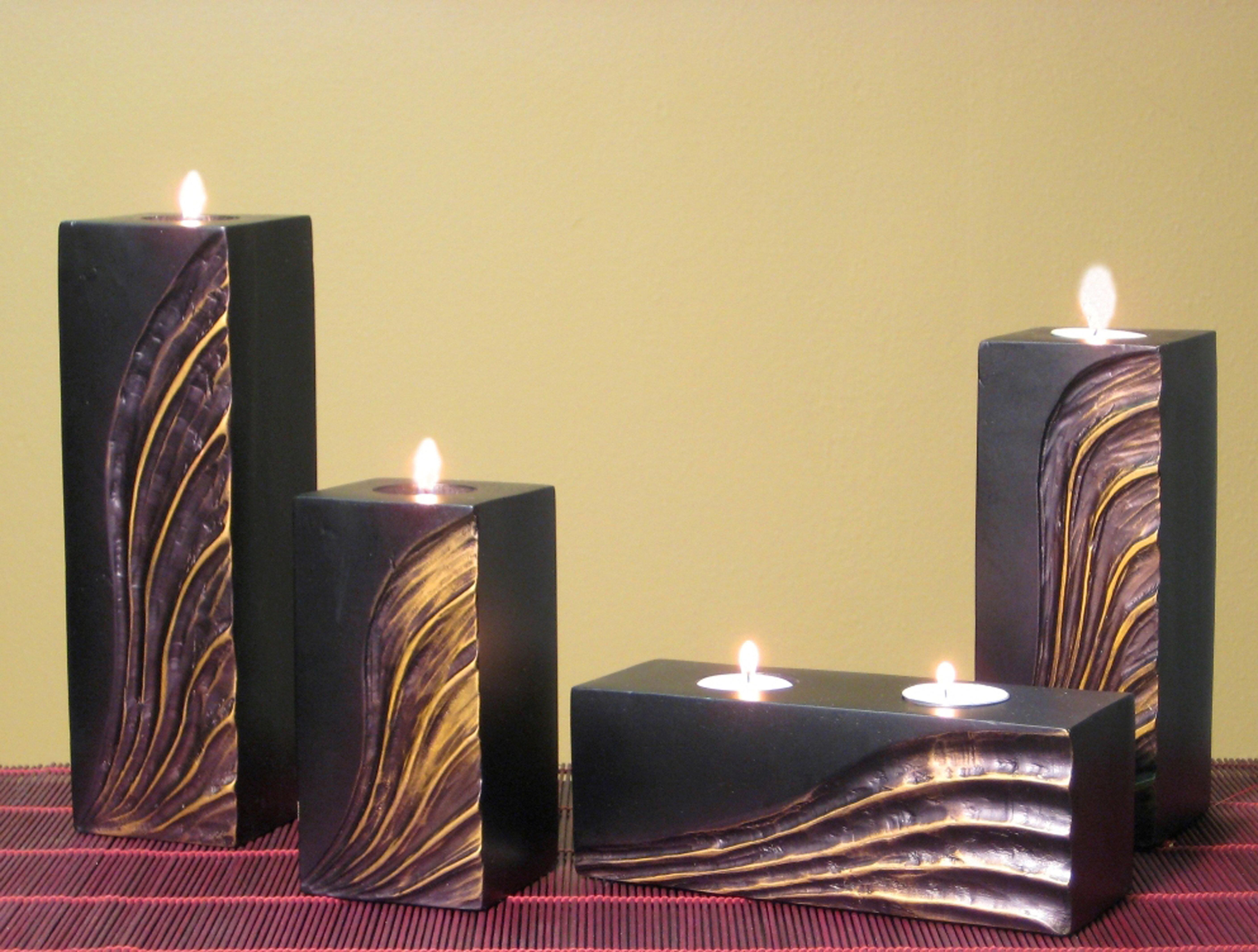 World Menagerie Mango 4 Piece Wood Tealight Set Wayfair