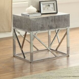 Piqua Faux Marble Square End Table by Ivy Bronx