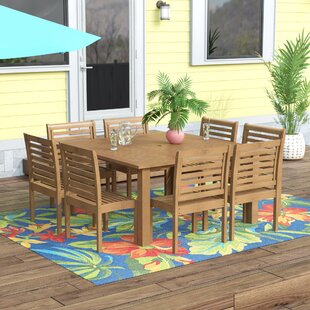 Flinn 9 Piece Dining Set by Beachcrest Home Comparison