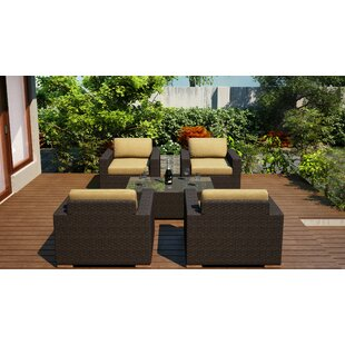 Harmonia Living Arden 5 Piece Conversation Set with Cushions