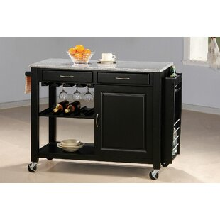 Levy Portable Kitchen Cart Granite Top