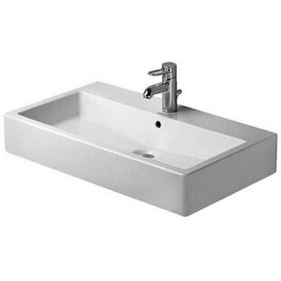 Compare Vero Ceramic Rectangular Wall Mount Bathroom Sink with Overflow By Duravit