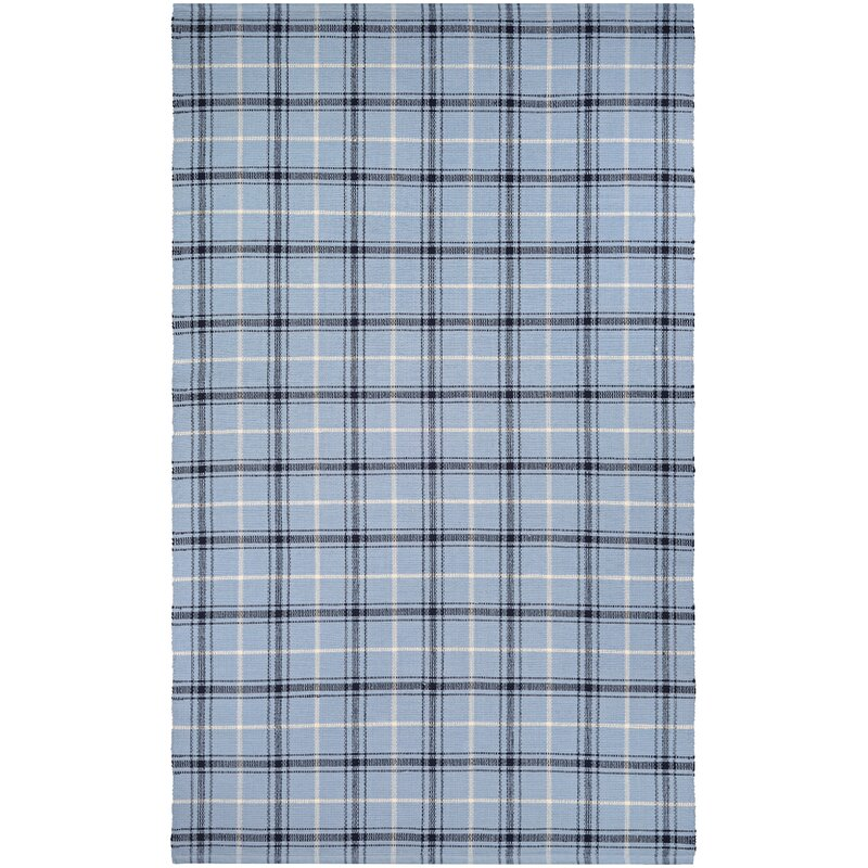 Bonifay Cape Plaid Hand-Woven Blue/Black Area Rug