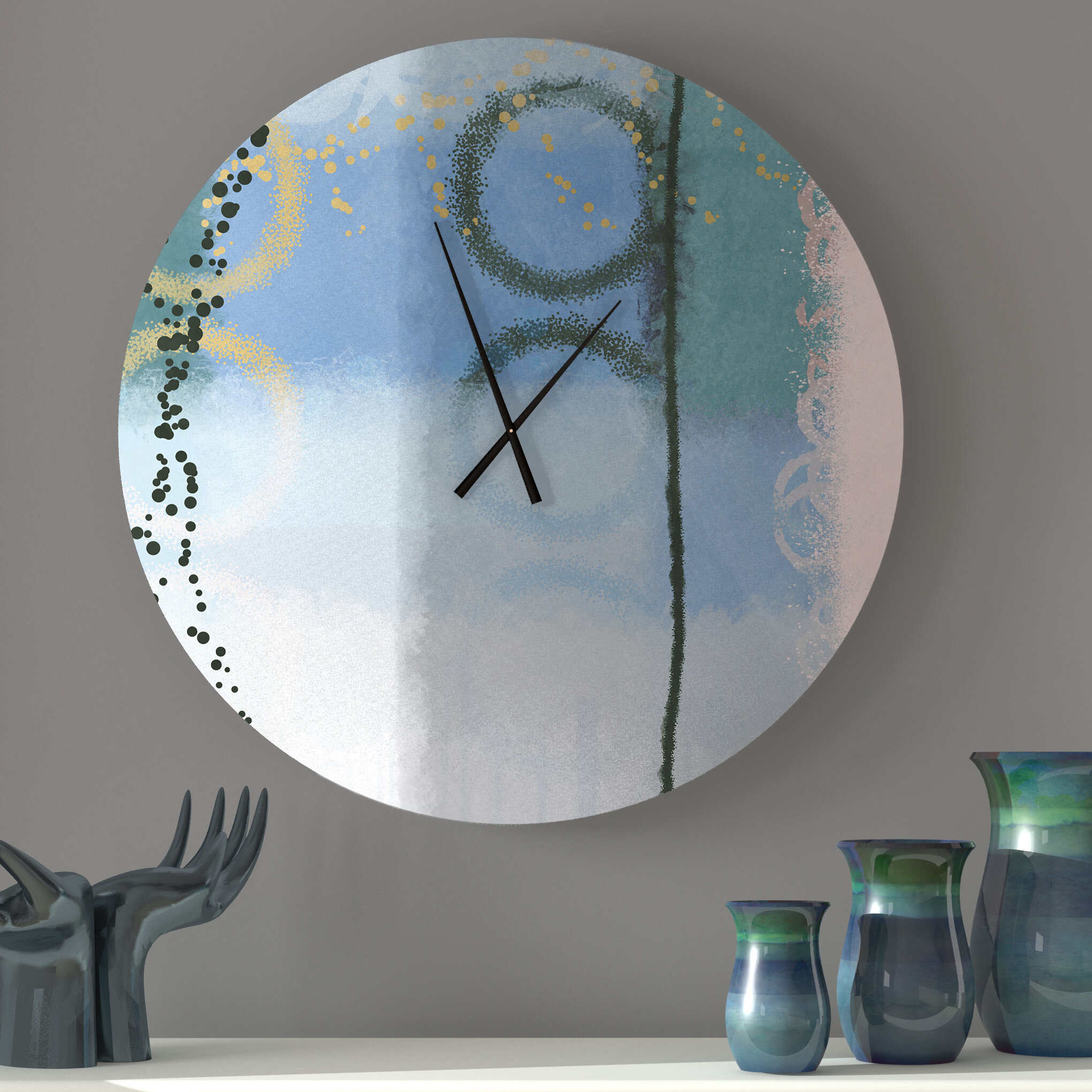Ebern Designs Strapping Sought After Abstract Metal Wall Clock Wayfair