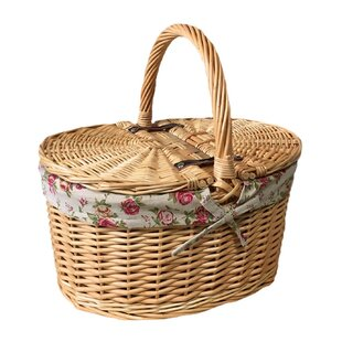 Garden Rose Lining Buff Oval Picnic Basket By August Grove