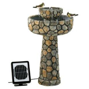 Zingz & Thingz Polyresin Solar Two-Tier Cobblestone Water Fountain
