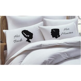2 Piece Frankenstein Inspired, His Hers Pillowcase Set