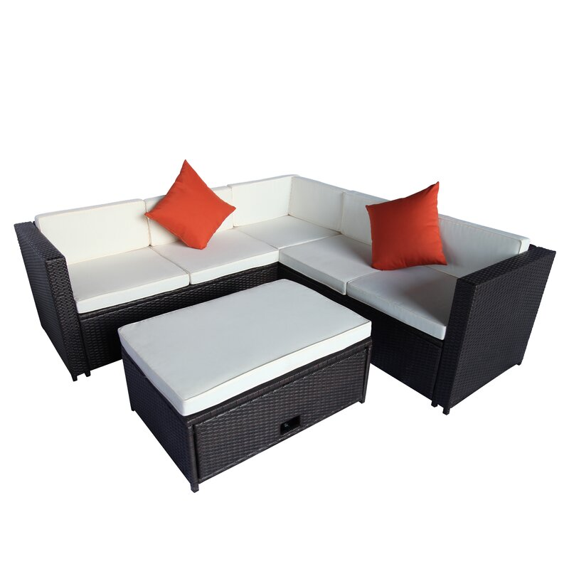 Aneet Outdoor L-Shape 4 Piece Rattan Sectional Seating Group with Cushion