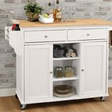 Rodin Kitchen Cart with Solid Wooden Top by Charlton Home®