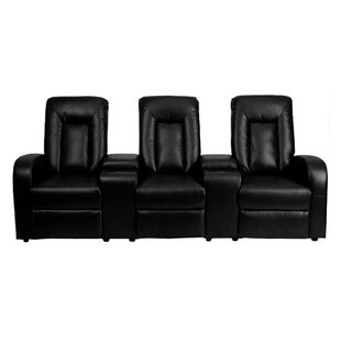 Reclining Leather Home Theater Sofa Latitude Run