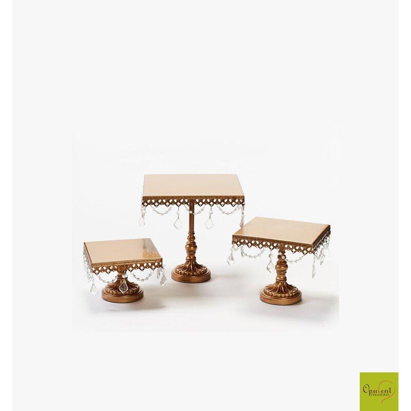 3 Piece Cake Plate Stand Set & Opulent Treasures 3 Piece Cake Plate Stand Set u0026 Reviews | Wayfair