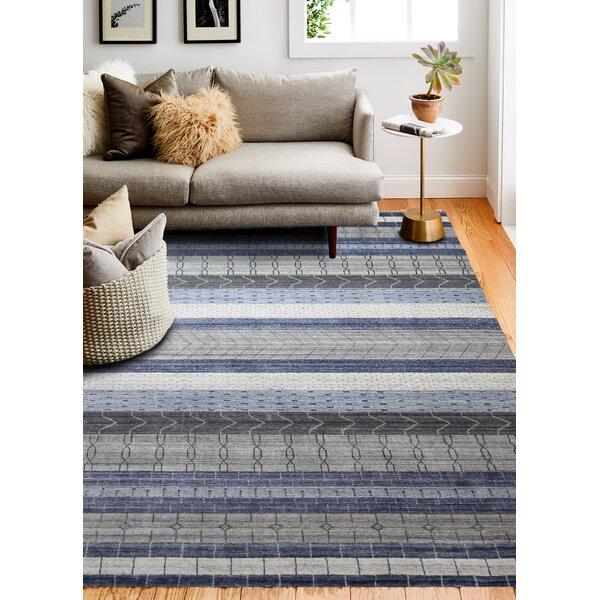 Brayden Studio Doolittle Hand Knotted Wool Blue Area Rug Wayfair