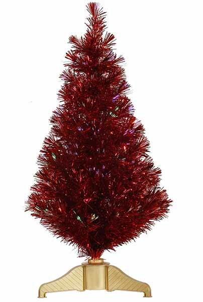 3 Red Hot Artificial Tinsel Christmas Tree With Multi Lights