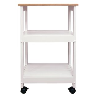Allie Microwave Kitchen Cart with Butcher Block Top by August Grove