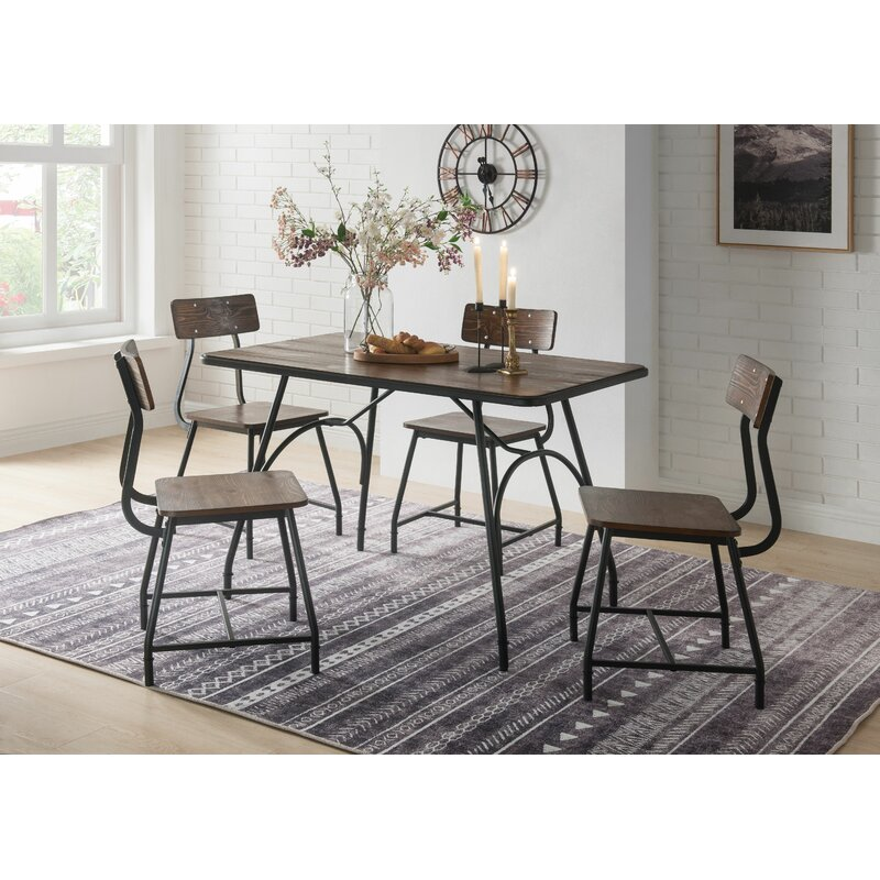 Foundry Select 5pc Metal Base Dining Table Set In Walnut And Black