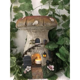 Solar Mushroom House with Stairs Outside Fairy Garden by Hi-Line Gift Ltd.