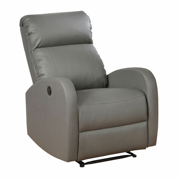 Light Grey Leather Recliner | Wayfair