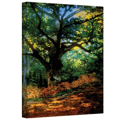 "Image of ''Bodmer Oak at Fountainbleau'' by Claude Monet Painting Print on Wrapped Canvas ArtWall Size: 48"" H x 36"" W"