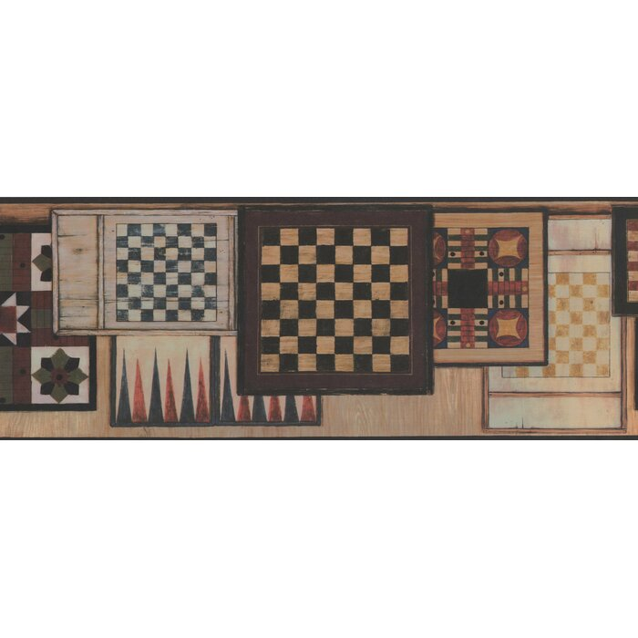 Pomfret Vintage Chess Checkers Tables Board Games Design 15u0027 L X 9u0027u0027 W  Wallpaper Border